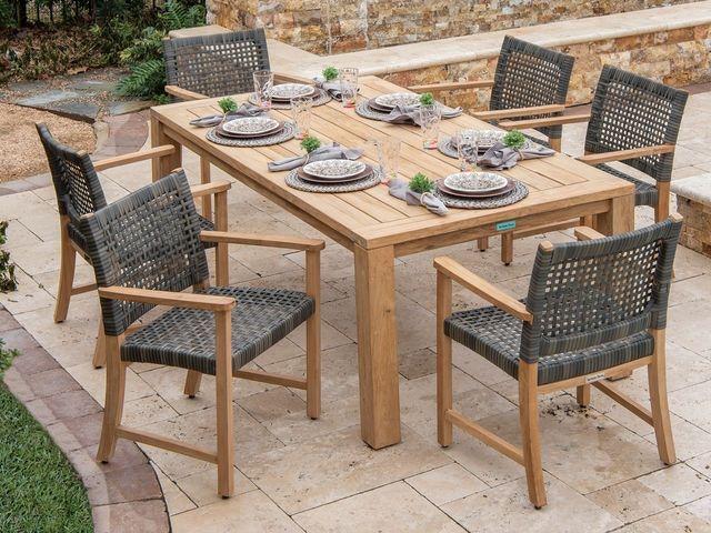 teak patio furniture wicker dining set