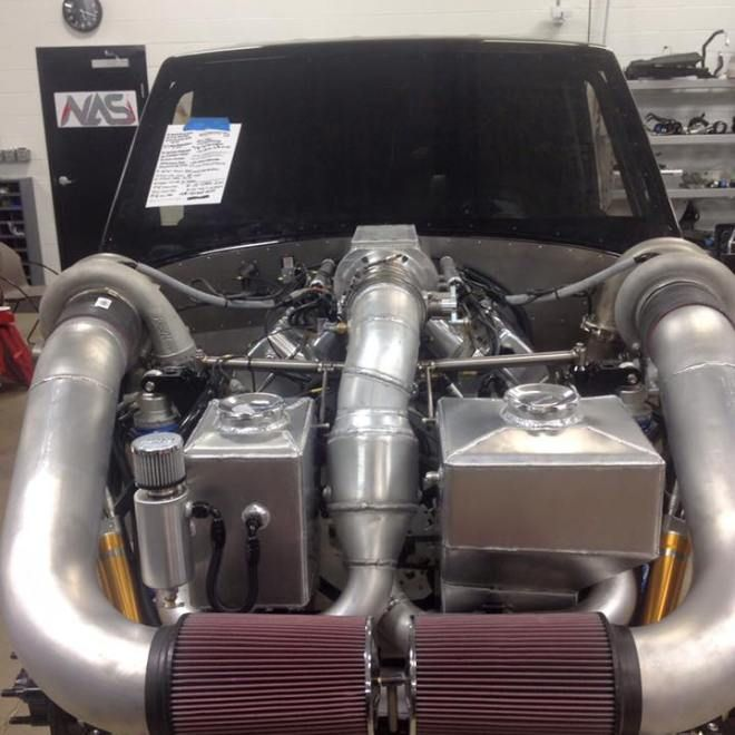 Engine on Nad Al Shiba Racing's Hill Climb Race Truck