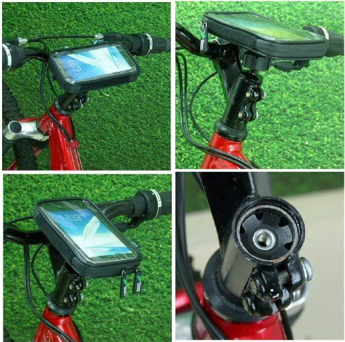 """Lightweight Waterproof Bike Cycle Head Stem Phone Mount for Samsung Galaxy Note / Note 2 II. Bicycle Head Stem Mount with IPX4 waterproof standard light-weight case for the Galaxy Note / Note 2 smartphones. Fits: 1 1/8"""" Star Washer bike stems. A complete cycle mounting option to hold the Galaxy Note / Note 2 mobile smartphone. The Mount: Strong secure mounting base. Machined from solid billet aluminium. British made. Fits 1 1/8"""" Star Washer Stems only - not suitable for Quill Stems…"""