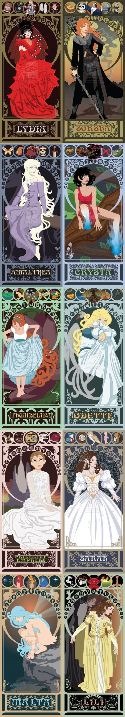 Interesting mix of female characters….Lili from 'Beetlejuice' / Sorsha from 'Willow' / Amalthea from 'The Last Unicorn' / Crysta from 'Fern Gully' / Thumbelina from the Don Bluth version of 'Thumbelina' / Odette from 'The Swan Princess' / The Childlike Empress from 'The Neverending Story' / Sarah from 'Labyrinth' / Malta from 'Sea Prince and the Fire Child' / Lili from 'Legend'