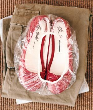 Use a shower cap pack shoes and keep the soles from touching your clothes >>> This is so SMART