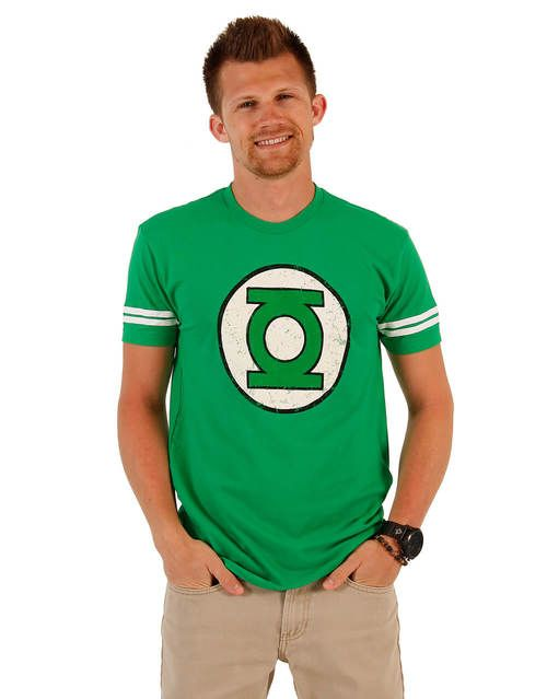 Green Lantern DISTRESSED Logo With Striped Sleeves T-shirt