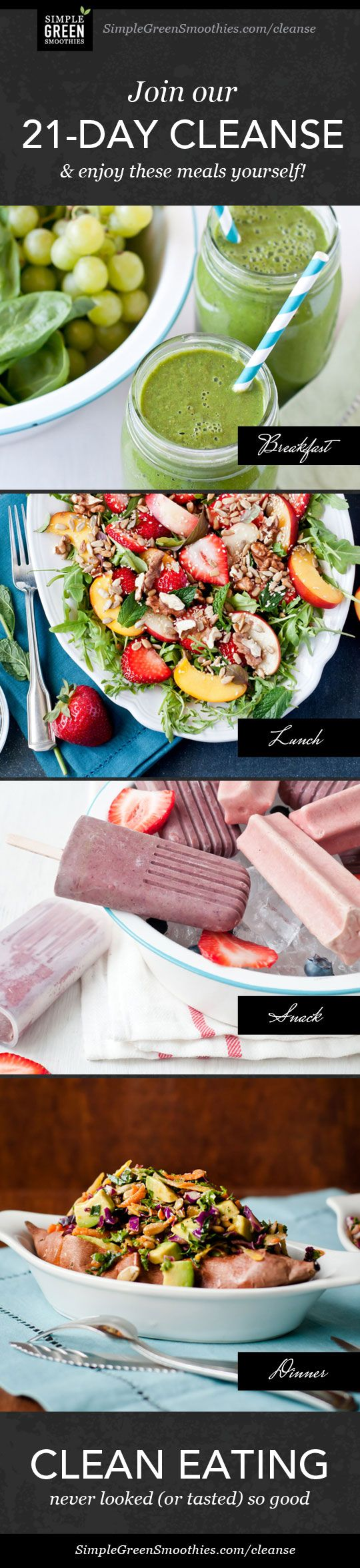 Healthy eating never looked so good. Join this 21-Day Cleanse! http://simplegreensmoothies.com/cleanse