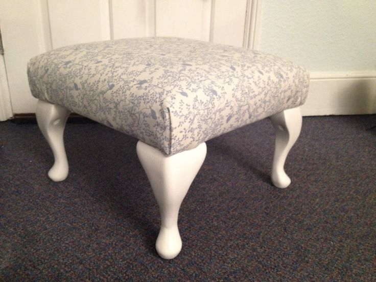 Reupholstered stool. Bird print fabric and satinwood white paint