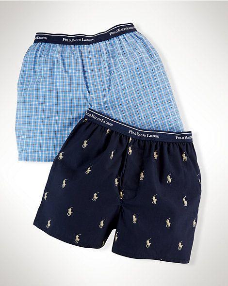 Woven-Cotton Boxer 2-Pack - Underwear  Boys 8–20 - RalphLauren.com 22.00
