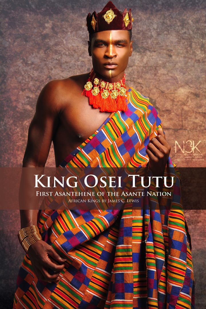 AFRICAN KINGS by International Photographer James C. Lewis | King Osei Tutu (circa 1650-1717) Osei Tutu was the founder and first ruler of the Asante nation, a great West African kingdom now known as Ghana. He tripled the geographic size of Asante and the kingdom was a significant power that endured for two centuries. Model: Kellen Marcus