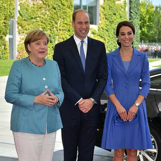 Chancellor Angela Merkel welcomes The Duke and Duchess to Berlin as #RoyalVisitGermany gets underway.
