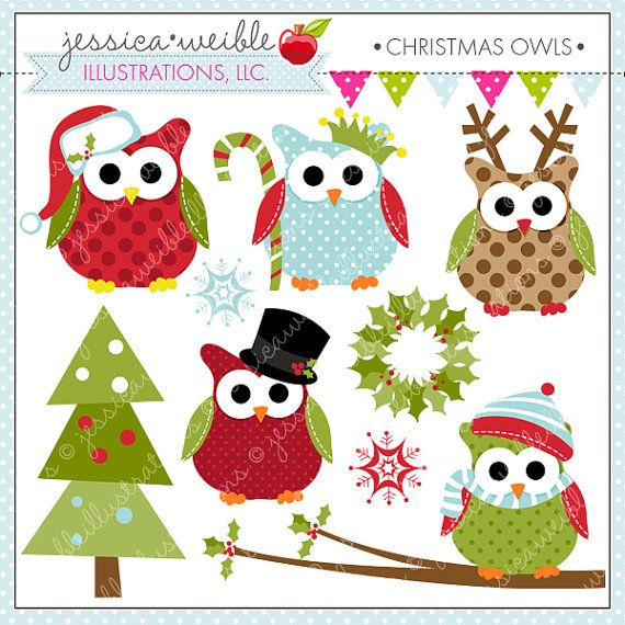 Christmas Owls Cute Digital Clipart for Commercial or Personal Use, Christmas Clipart, Christmas Graphics on Etsy, $5.00
