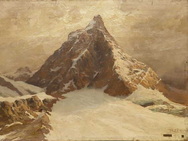 Leonardo Roda, Il Cervino, parete Nord, Olio su tavola, Torino | Courtesy of Galleria Aversa