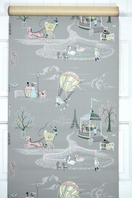 1950's Vintage Wallpaper Paris Scenes Pink by HannahsTreasures