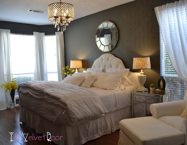Gorgeous bedroom redo  {The Velvet Door}  Wall paint:  Kendall Charcoal by Benjamin Moore: Beauty Bedrooms, Wall Color, Decoration Idea, Grey Wall, Master Bedrooms, Bedrooms Idea, Velvet Doors, Bedrooms Color, Dark Wall