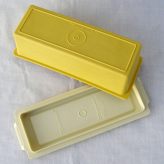 Vintage Tupperware Yellow Butter Keeper
