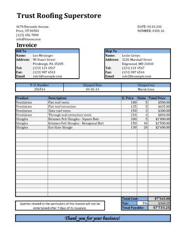 Roofing Invoice Template With Shipping Details  Company Invoice Forms