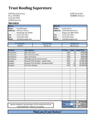 Roofing Estimates Templates Free Download Printable