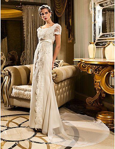 Lanting Bride® Eng anliegend Extraklein / Übergrößen Hochzeitskleid - Klassisch & Zeitlos / Glamurös & DramatischVintage Inspirationen / 467025 2017 – €121.02