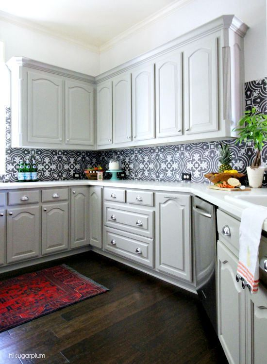 Paint color is Mindful Gray Sherwin Williams and tile backsplash is