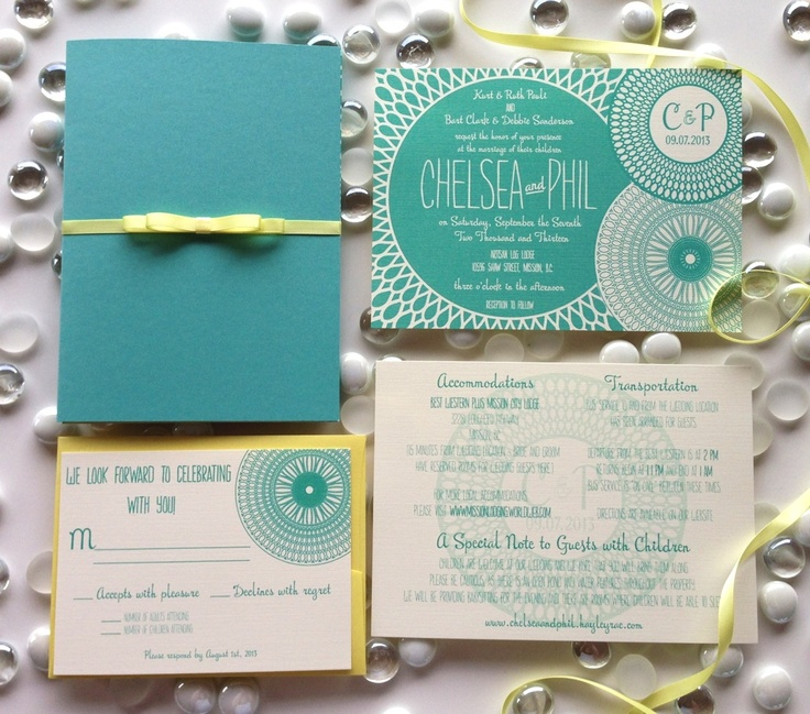 Tiffany blue inspired 5x7 invitation suite in a shimmering teal blue enclosure, wrapped in a soft yellow double faced satin ribbon with handcrafted bow, and inserts printed on textured ecru card stock. Facebook.com/belleimpressions