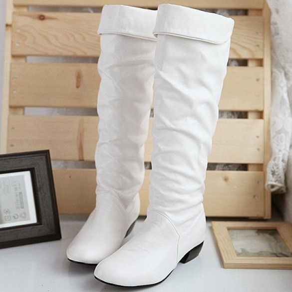 New Fashion Women's Grace Devise Round Toe Synthetic Leather Flat Knee High Boots