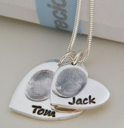 FINGERPRINT JEWELLERY Personalised Double by PreciousCharmCompany, £95.00