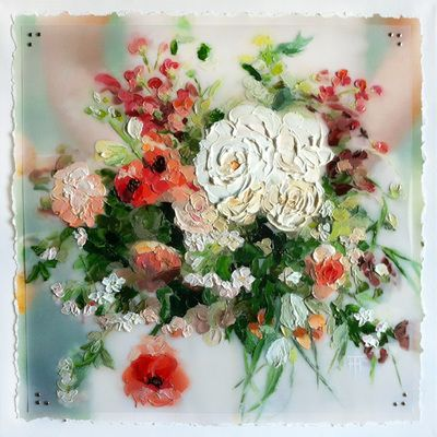 A custom painting of your wedding bouquet by Terri Heinrichs.  Wedding or Anniversary gift idea!