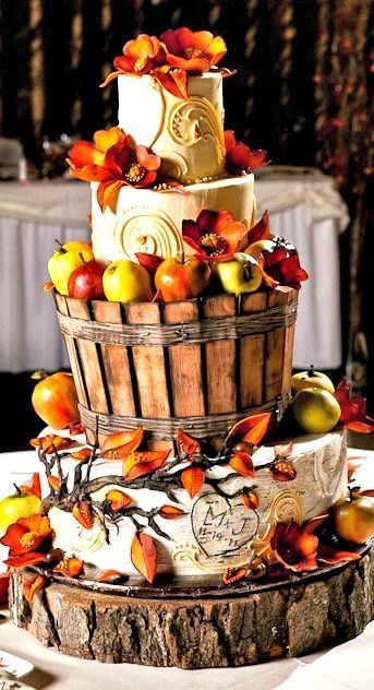 45 Amazing autumn wedding cakes!!! Check these out for inspiration | Askham hall | winter | autumn | country rustic barn wedding |
