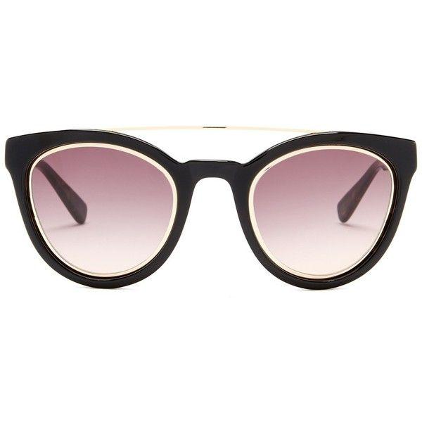 DEREK LAM Women's Tessa Cat Eye Browline Sunglasses ($90) ❤ liked on Polyvore featuring accessories, eyewear, sunglasses, black, gradient lens sunglasses, derek lam glasses, lens glasses, cateye sunglasses and uv protection glasses