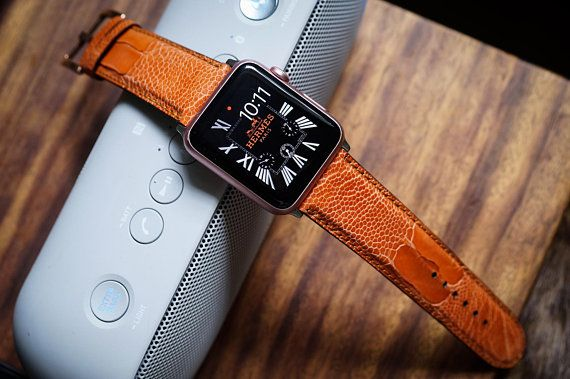 Orange Ostrich Leather Apple Watch Band Fits 42mm Apple Watches Series 3 2 1 Sport Edition And Nike Apple Watch Bands Leather Apple Watch Apple Watch Strap