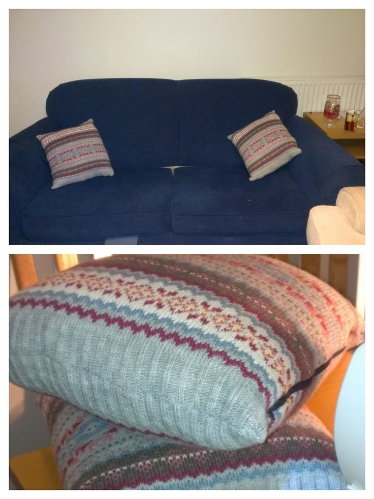 Cushions covers recycled from a scarf