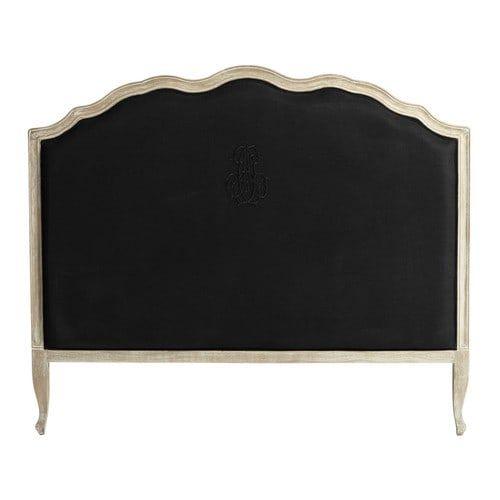 ombelline kopfteil 140 cm aus leinen schwarz - Hausgemachte Kopfteile Mit Regalen