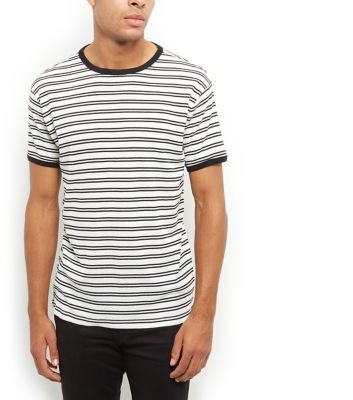 Keep daytime looks simple with this ribbed stripe tee - try wearing with  black skinny jeans and trainers.- Ribbed texture- All over stripe print-  Rounded ...