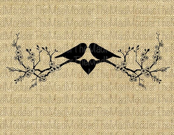 Two Love Birds Lovebirds on Cherry Blossom Branch by TheMadModder, $1.00