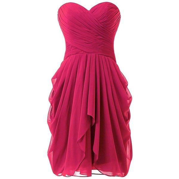 Dressy New Star Women's Chiffon Bridesmaid Dress Short Homecoming Prom... ($33) ❤ liked on Polyvore featuring dresses, short pink dress, short homecoming dresses, bridesmaid dresses, homecoming dresses and prom dresses