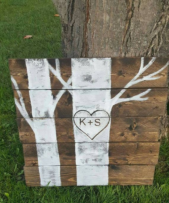 Birch Tree Sign  Personalized Wood Sign  Gift for Her