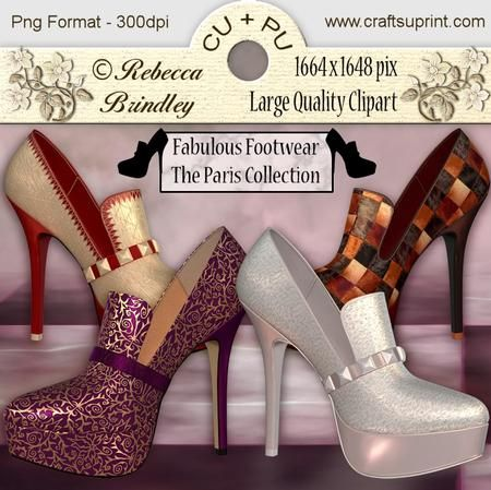 Fabulous Footwear The Paris Collection on Craftsuprint designed by Rebecca Brindley - Feed your shoe addiction with these gorgeous heels, and at 1664 x 1648 pixels each they are big enough to fit on any of your wonderful designs. Commercial use ok