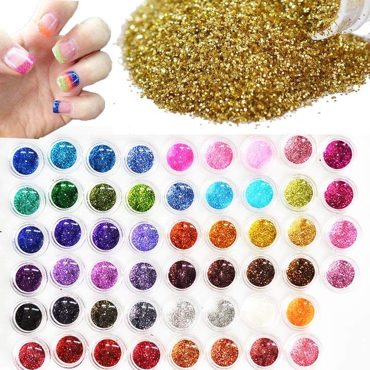 Buy 60pcs Different Colors Nail Glitter Powder Dust 3D Nail Art Decoration Acrylic UV Gem Polish Nail Art Tools Set NJ151 at JacLauren.com