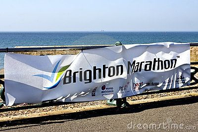 A sign on the route of the Brighton marathon