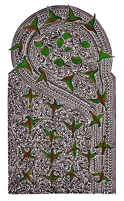 """""""Kirisal est le pluriel de Kiris (loriquet) dans la langue Maluilgal de la nation de Zenadh Kes (détroit de Torres). L'artiste aborigène Alick Tipoti nous dit que c'est un mets très apprécié. Ces animaux se nourrissent surtout au sommet des grands manguiers. Comme les Surka (oiseaux sauvages), ils jouent un rôle important en prévenant les villageois de l'arrivée de visiteurs. #artaborigene #contemporain #australie"""