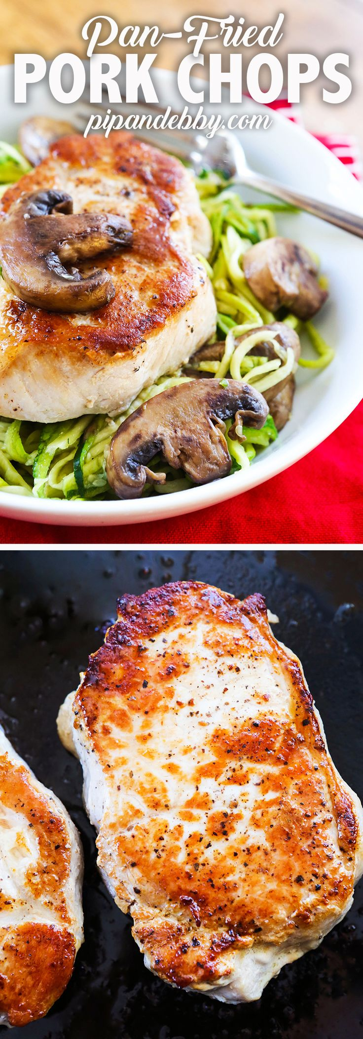 Pan-Fried Pork Chops | I will never prepare pork another way again. Make the pork chops while steaming some veggies and dinner will be done in less than 20 minutes! #whole30 #dinner #porkchops