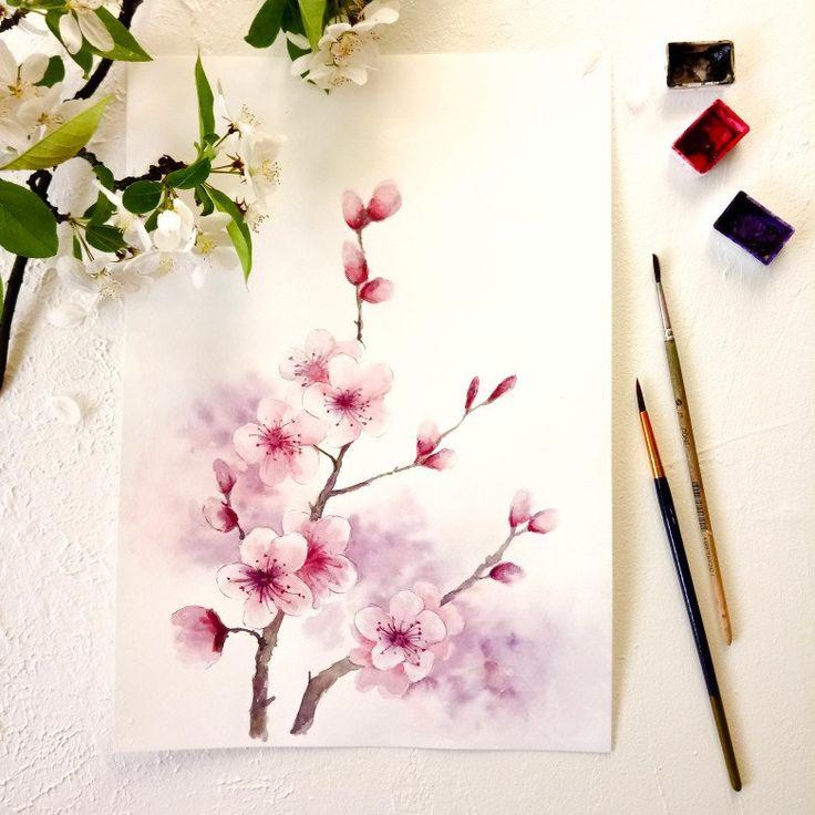 Cherry Blossom Printable Wall Art, Sakura Watercolor Painting_Floral Spring Digital Print Download