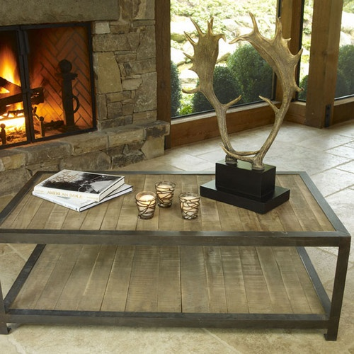 Aspen Rustic Wood Coffee Table - eclectic - coffee tables - atlanta - by Iron Accents