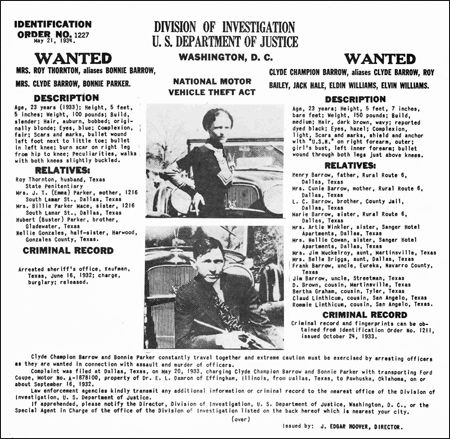 Bonnie and Clyde met in Texas in January, 1930. At the time, Bonnie was 19 and married to an imprisoned murderer; Clyde was 21 and unmarried. Soon after, he was arrested for a burglary and sent to jail. He escaped, using a gun Bonnie had smuggled to him, was recaptured and was sent back to prison. Clyde was paroled in February 1932, rejoined Bonnie, and resumed a life of crime.