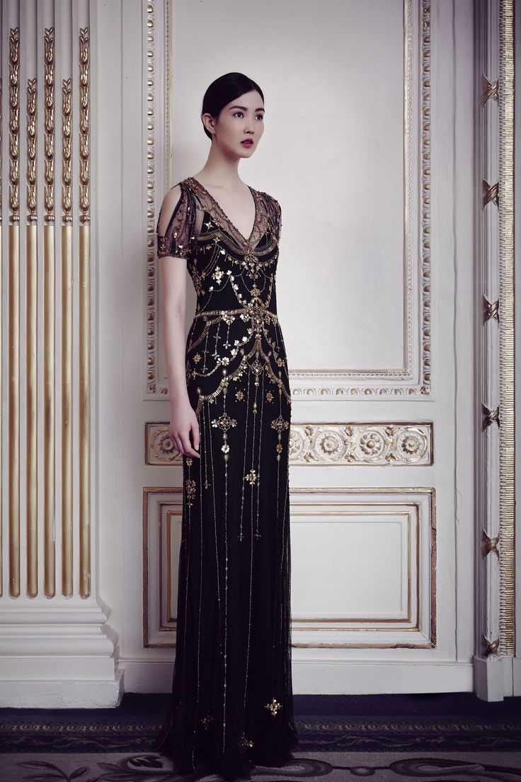Jenny Packham | Fall/Winter 2014 - black 1930s style bridal gown with gold beading