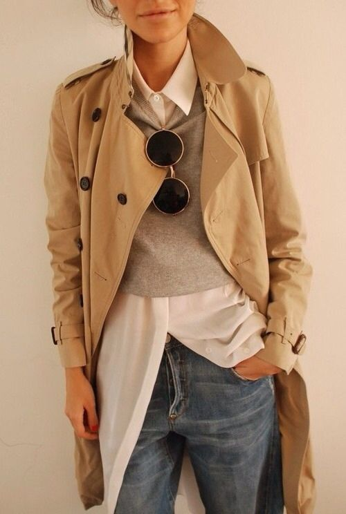 great layers // button-down, slim sweater, jeans, trench