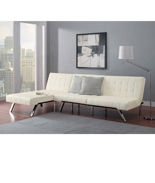 White Leather Futon Sofa Couch Bed Sleeper W/ Chaise Lounger Faux Leather