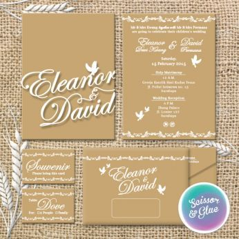 The natural dove themed Wedding invitation design by Scissor & Glue, Surabaya, Indonesia #rustic #elegant