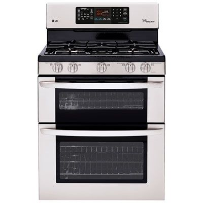 Good Housekeeping rated this the best overall range for 2013! An extra–easy-to-use gas range, plus a double oven, makes this the champ. Tons of features, including griddle burner; warm, pizza, and bread-proofing options; and convection — it even remembers your favorite cooking settings.    lg double oven range ldg3036st