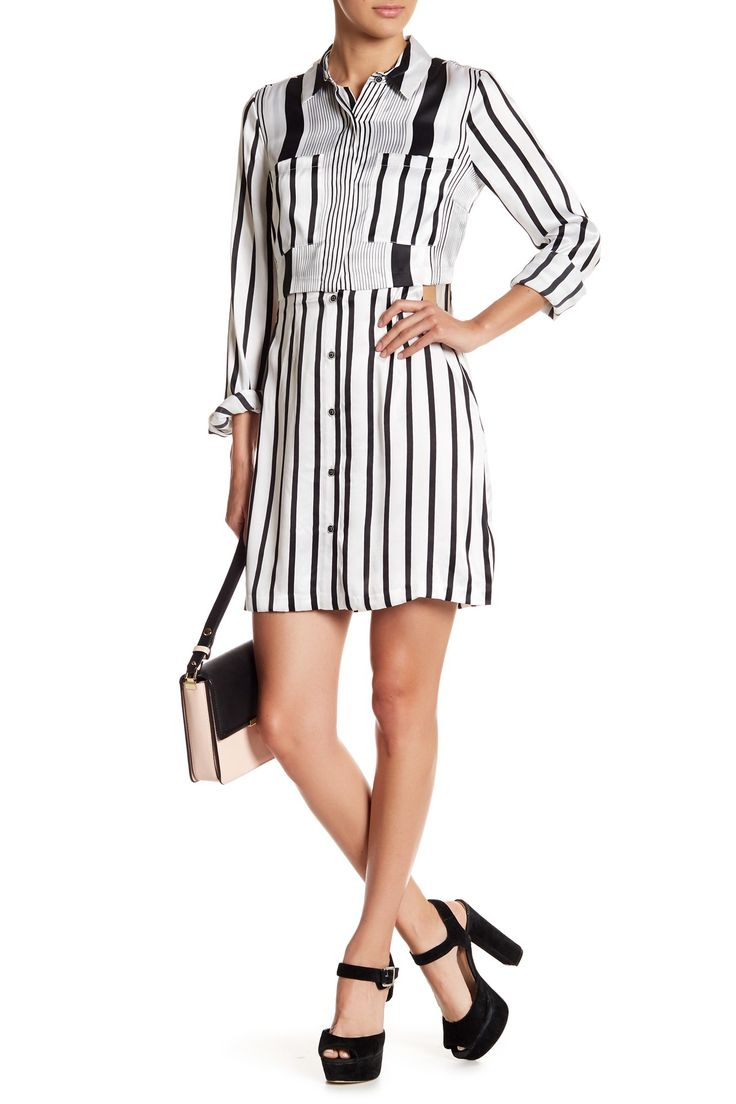 Peek-A-Boo Stripe Silk Shirt Dress