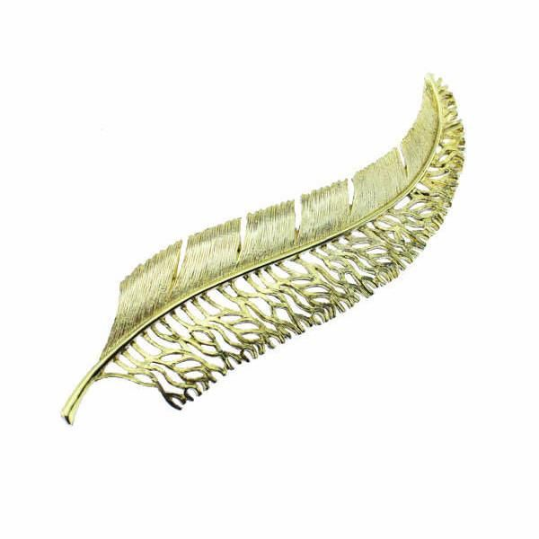 Large Gold Feather Brooch