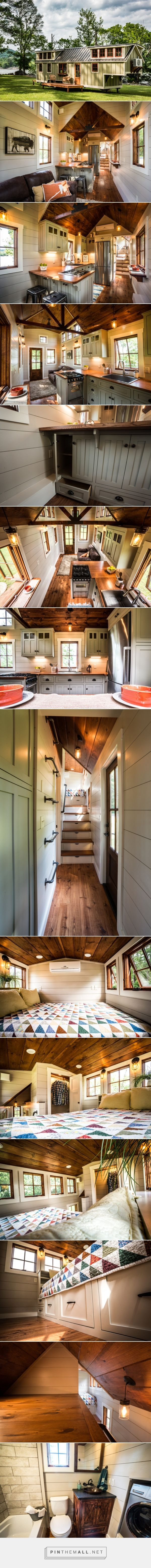 The 37' Denali by Timbercraft Tiny Homes... - a grouped images picture - Pin Them All This is the Denali, a gorgeous tiny house build by Timbercraft Tiny Homes in Guntersville, AL. It's a 37′ long ,8.5′ wide and 13.5′ high tiny house and with that awesome length they were able to fit a lot in! It's 352 sq. ft. as shown below, but they add an optional loft over the living room to make the space 430 sq. ft.
