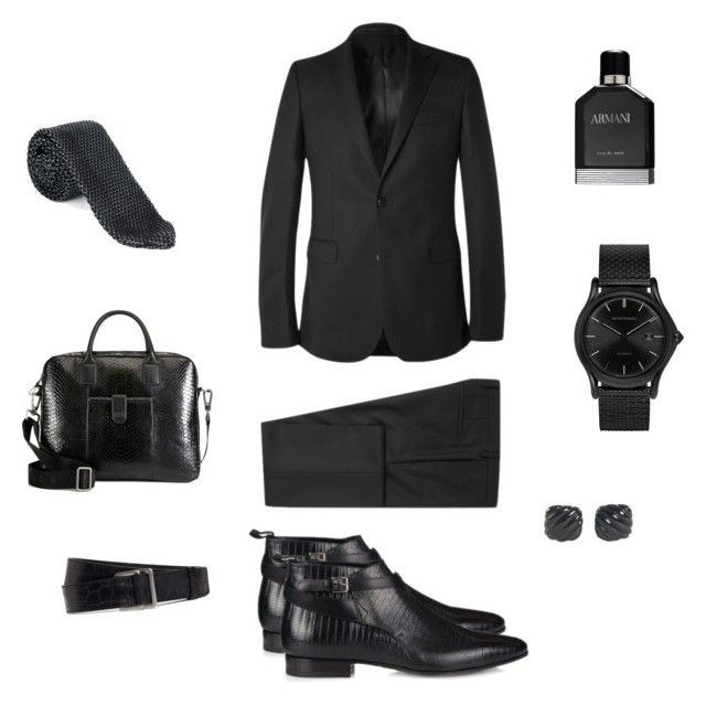 """""""Man in Black"""" by steven-rs ❤ liked on Polyvore featuring Yves Saint Laurent, Jigsaw, HUGO, David Yurman, Emporio Armani, Givenchy, Giorgio Armani and Brooks Brothers"""